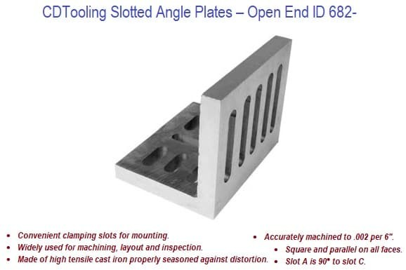 Angle Plates Slotted, Open End Style Cast Iron 6 to 12 inch ID 682-
